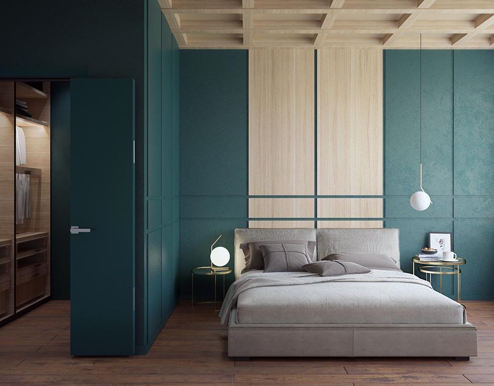 Không gian phòng ngủ lạ với chất liệu thiết kế thông dụng. Tủ quần áo đẹp được ẩn sau những bức tường màu xanh.