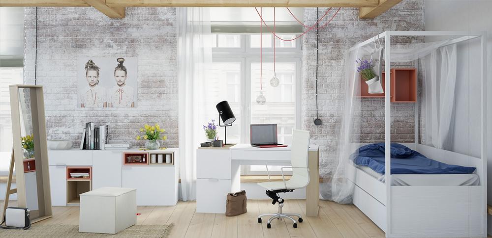11. Phòng ngủ với chiếc giường ngủ đơn, bên cạnh là không gian làm việc