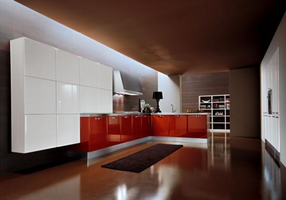 2. Tủ bếp đẹp phối giữa màu bếp dưới màu đỏ tươi, bếp trên màu trắng sang trọng