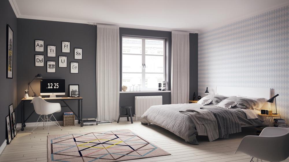 8. Phòng ngủ được bố trí nội thất thoáng đáng, gọn gàng tông màu chủ đạo là màu ghi và trắng hiện đại