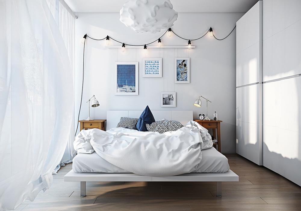 2. Phòng ngủ đơn giản, nhẹ nhàng với tông màu trắng chủ đạo