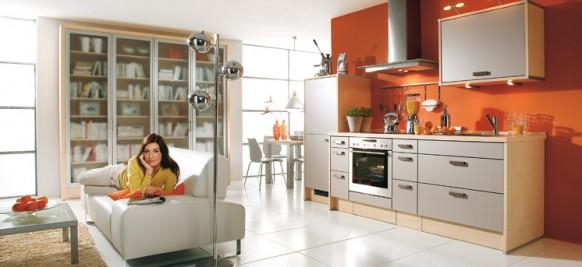 3. Không gian bếp với tủ bếp tuy nhỏ nhưng đầy đủ công năng và tiện nghi