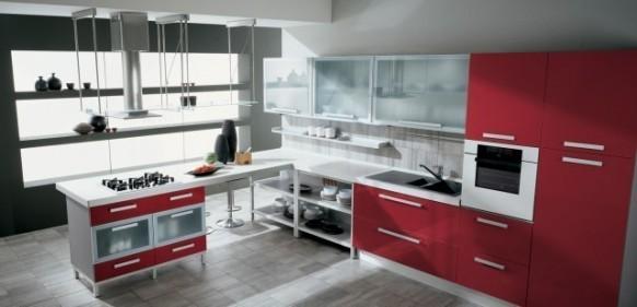 5. Tủ bếp hiện đại với mặt diện tủ bếp màu đỏ đẹp