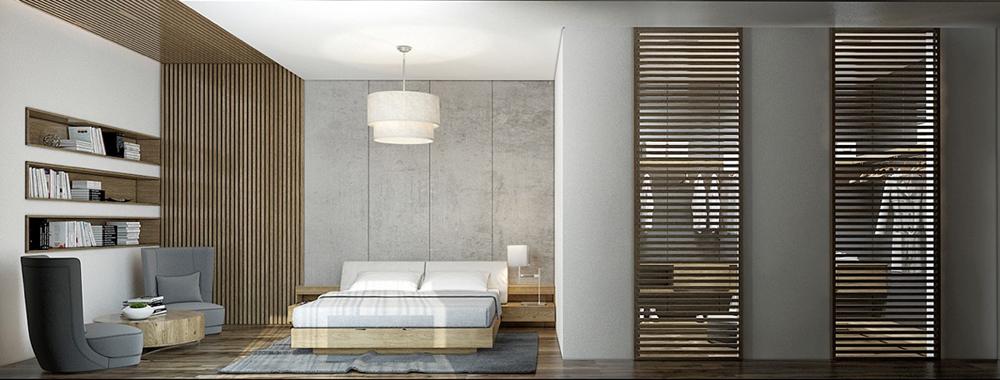 6. Phòng ngủ với thiết kế các thanh nan tinh tế và độc đáo