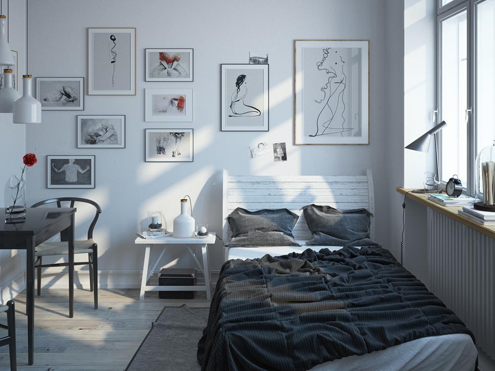 24. Phòng ngủ thiết kế đơn giản và được bài trí khá nhiều tranh treo tường