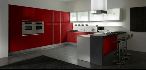 6. Tủ bếp màu đỏ tươi đẹp