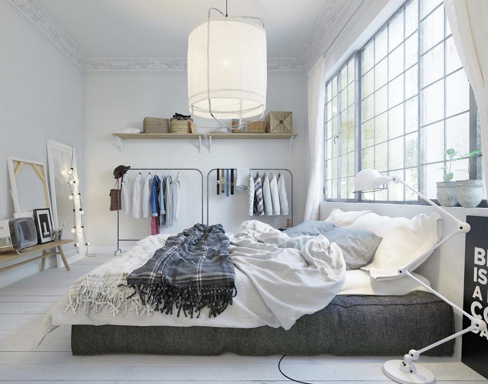 23. THiết kế phòng ngủ với giường đệm sát đất