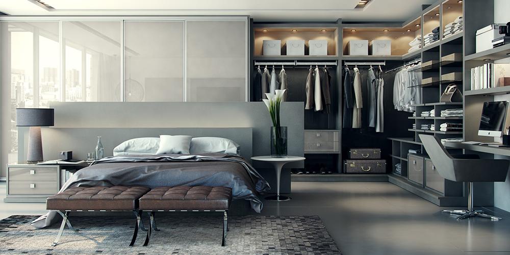 Mẫu thiết kế phòng ngủ hiện đại với thiết kế tủ áo đẹp liền kề giá sách
