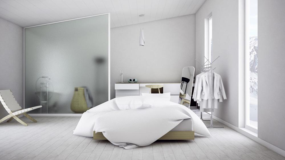 22. Phòng ngủ nhẹ nhàng, và được sử dụng tông màu trắng tinh khiết