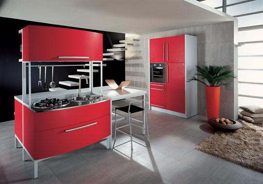 8. Thiết kế phòng bếp gọn gàng với điểm nhấn màu đỏ
