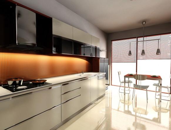 8. Phòng bếp được thiết kế tủ bếp hiện đại với mặt kính cam được chiếu sáng bằng đèn led quyễn rũ