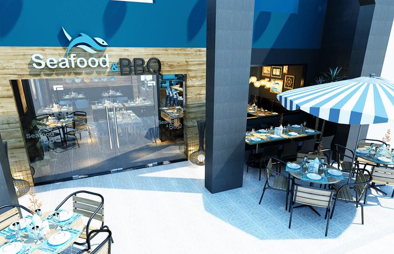 """Mẫu nội thất nhà hàng biển xanh """"seafood BQQ"""" - Hình 01"""