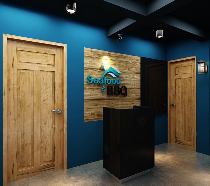"""Mẫu nội thất nhà hàng biển xanh """"seafood BQQ"""" - Hình 02"""