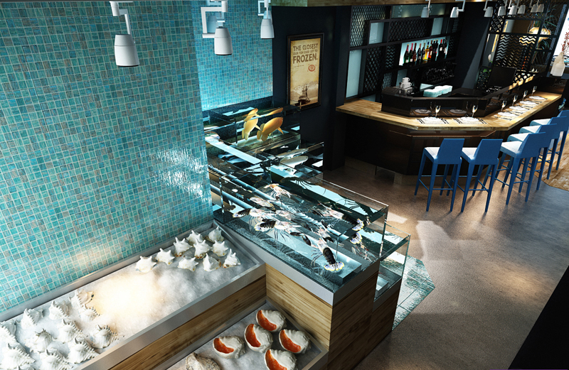 """Mẫu nội thất nhà hàng biển xanh """"seafood BQQ"""" - Hình 04"""