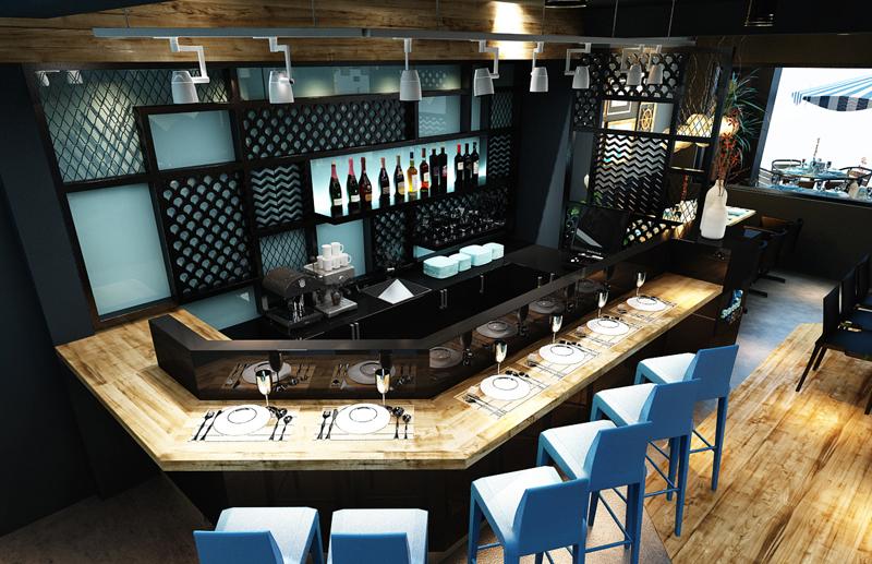 """Mẫu nội thất nhà hàng biển xanh """"seafood BQQ"""" - Hình 05"""