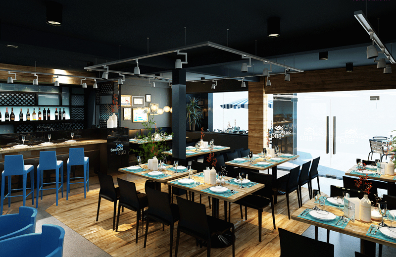"""Mẫu nội thất nhà hàng biển xanh """"seafood BQQ"""" - Hình 06"""