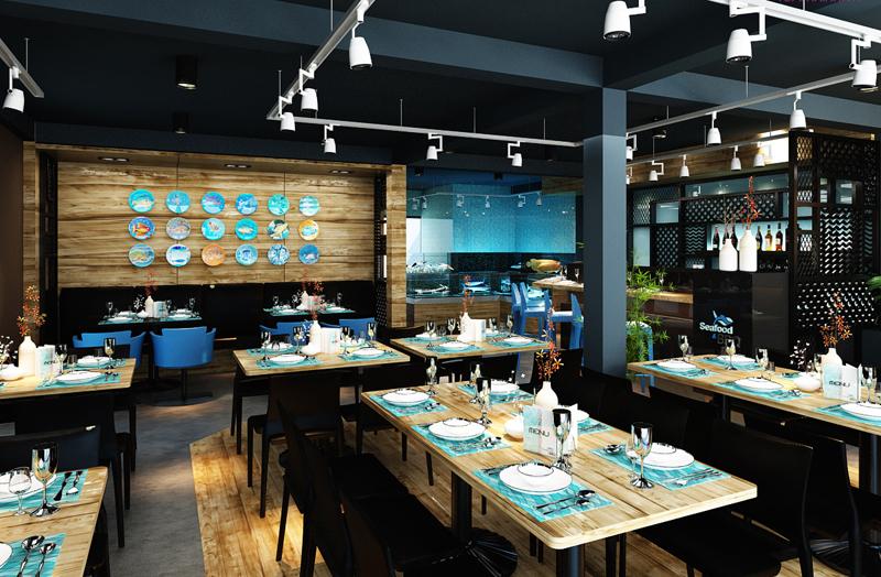 """Mẫu nội thất nhà hàng biển xanh """"seafood BQQ"""" - Hình 07"""