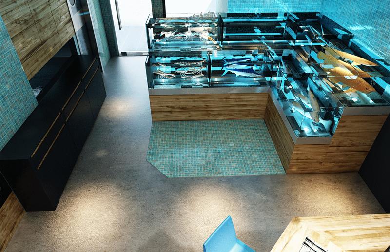 """Mẫu nội thất nhà hàng biển xanh """"seafood BQQ"""" - Hình 08"""