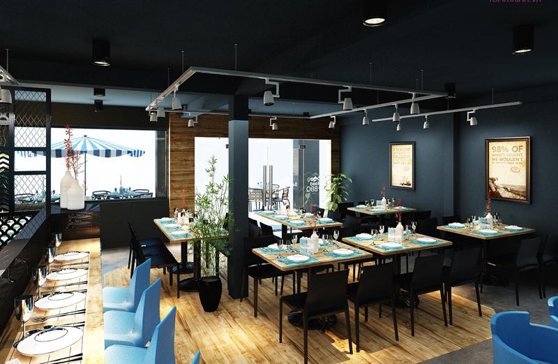 """Mẫu nội thất nhà hàng biển xanh """"seafood BQQ"""" - Hình 09"""