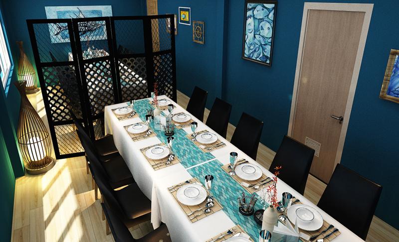 """Mẫu nội thất nhà hàng biển xanh """"seafood BQQ"""" - Hình 10"""