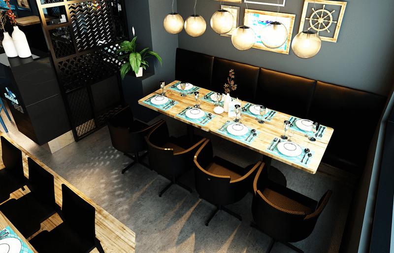 """Mẫu nội thất nhà hàng biển xanh """"seafood BQQ"""" - Hình 11"""