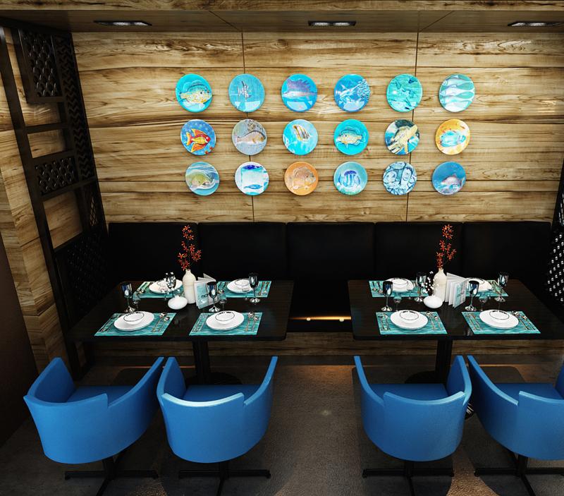 """Mẫu nội thất nhà hàng biển xanh """"seafood BQQ"""" - Hình 12"""