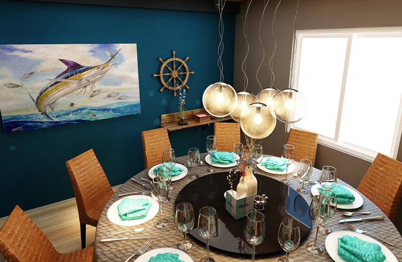 """Mẫu nội thất nhà hàng biển xanh """"seafood BQQ"""" - Hình 14"""