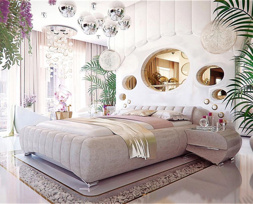 Tận dụng cây xanh và bóng đèn để trang trí phòng ngủ