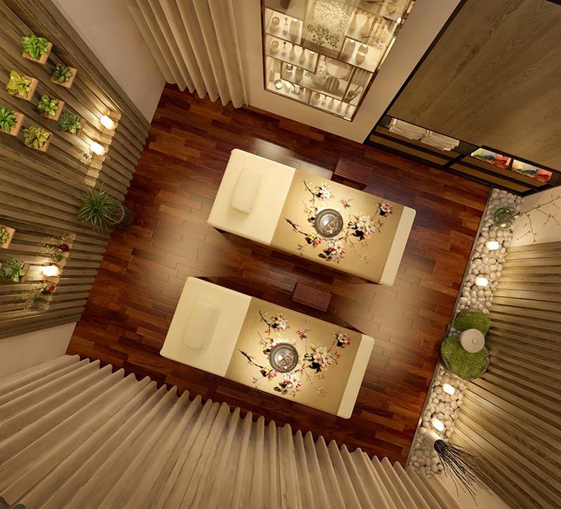 Hình ảnh nhìn từ trên xuống căn phòng spa