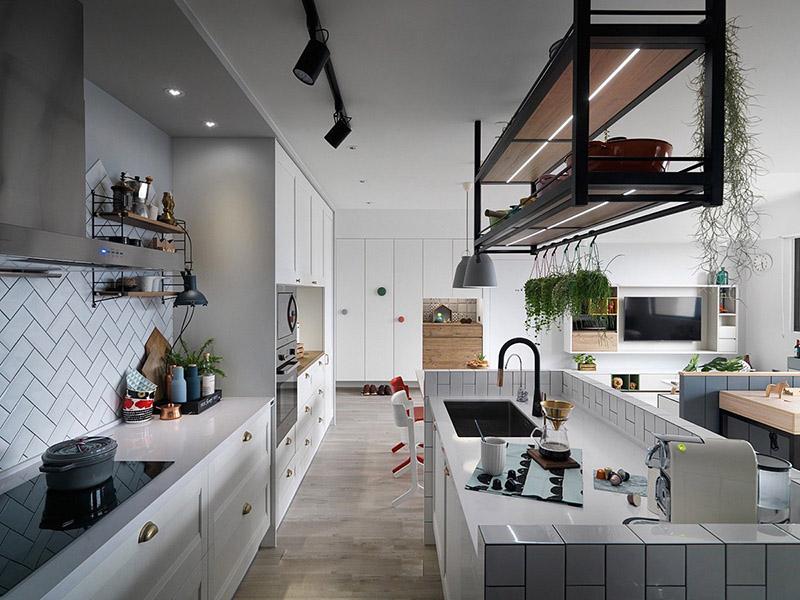 Hình 01: Thiết kế nội thất phòng bếp căn hộ theo phong cách scandinavia