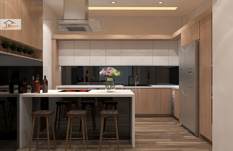 Hình 01: Thiết kế nội thất phòng bếp nhà phố đẹp hiện đại ở Đinh Công, Hà Nội
