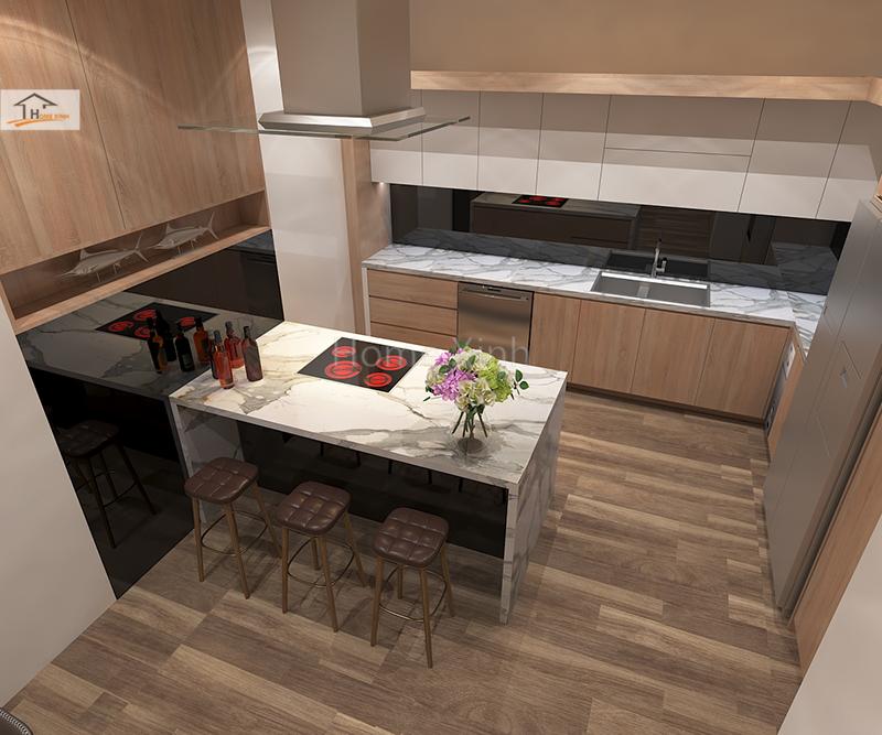 Hình 02: Thiết kế nội thất phòng bếp nhà phố đẹp hiện đại ở Đinh Công, Hà Nội