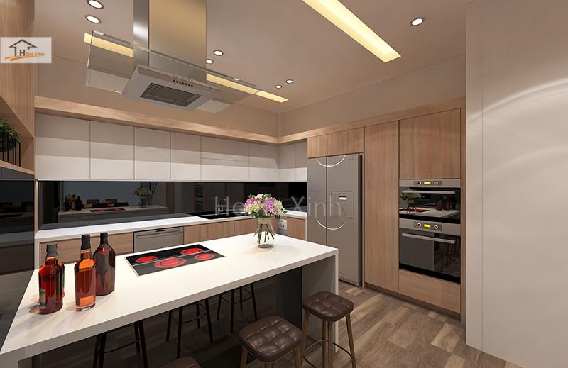 Hình 03: Thiết kế nội thất phòng bếp nhà phố đẹp hiện đại ở Đinh Công, Hà Nội