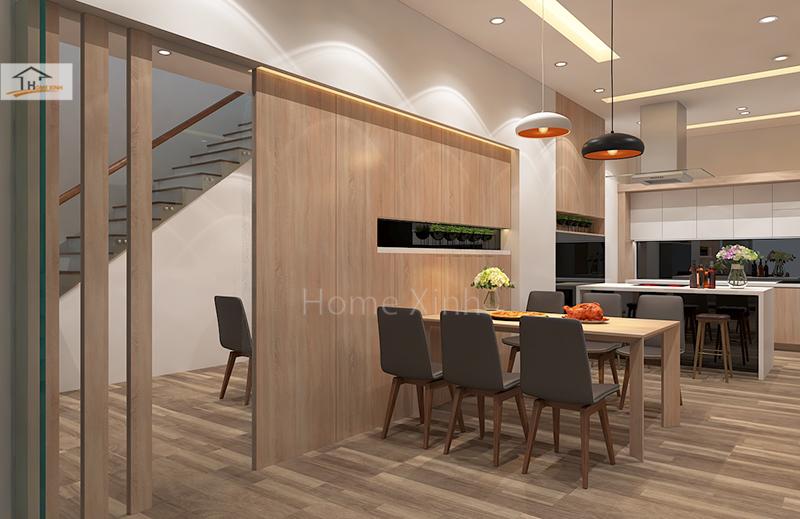 Hình 04: Thiết kế nội thất phòng bếp nhà phố đẹp hiện đại ở Đinh Công, Hà Nội