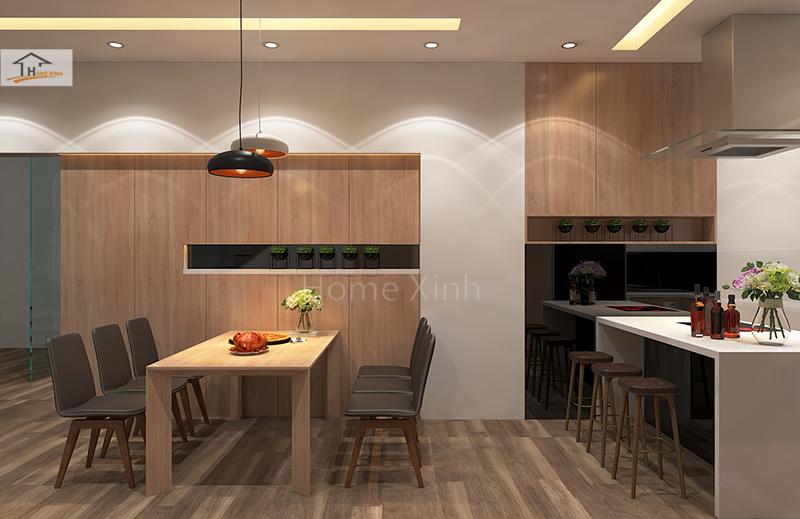 Hình 05: Thiết kế nội thất phòng bếp nhà phố đẹp hiện đại ở Đinh Công, Hà Nội