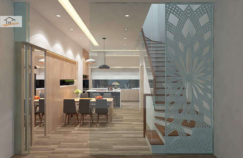 Hình 06: Thiết kế nội thất phòng bếp nhà phố đẹp hiện đại ở Đinh Công, Hà Nội
