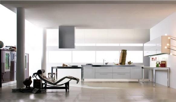 5. Mẫu tủ bếp hiện đại và tiện dụng với tông màu trắng chủ đạo