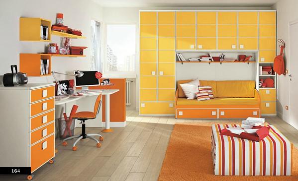 8. Thiết kế phòng ngủ trẻ em với sự kết hợp của giường ngủ và tủ chứa đồ