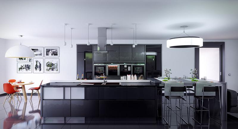Mẫu thiết kế phòng bếp theo phong cách công nghiệp