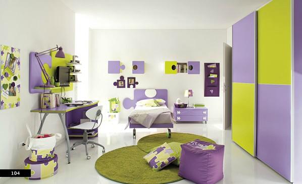 6. Mẫu phòng ngủ trẻ ấn tượng với màu xanh và tím