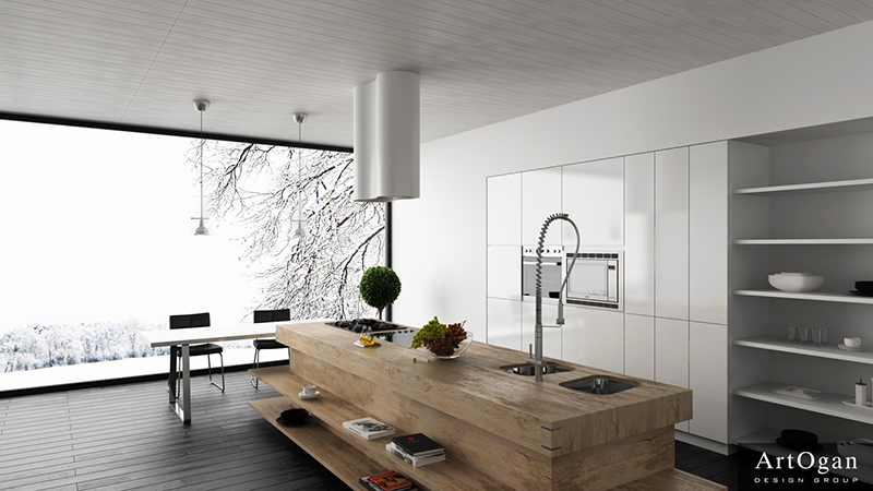 Sử dụng chất liệu gỗ tự nhiên trong thiết kế phòng bếp