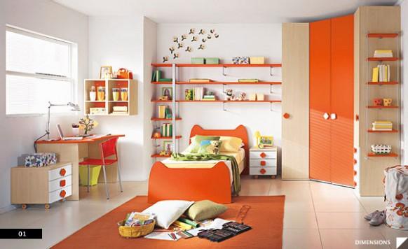 Phòng ngủ cho bé trai với màu cam mạnh mẽ