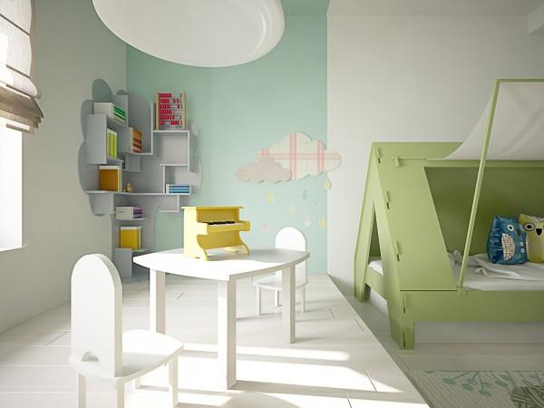 phòng ngủ trẻ em màu xanh và trắng