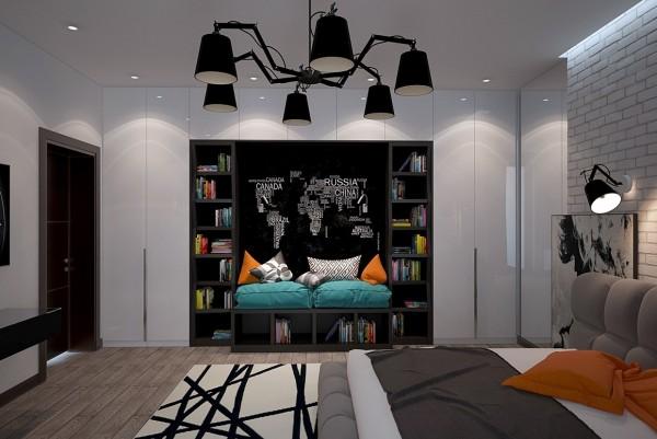Màu đen được sử dụng kết hợp với màu xám và các màu sắc khác tạo ra không gian phòng ngủ trẻ hoàn hảo