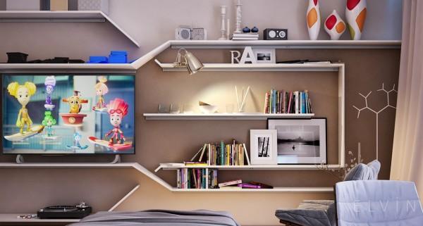 Kệ tivi được kết hợp với để sách, giúp cho 2 bé thỏa thích vui chơi và học hỏi