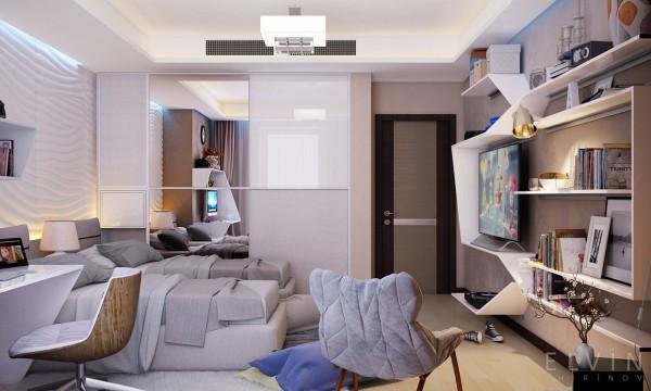 Không gian nội thất trẻ em nhẹ nhàng, giúp cho trẻ thoải mái nhất khi ở trong căn phòng này