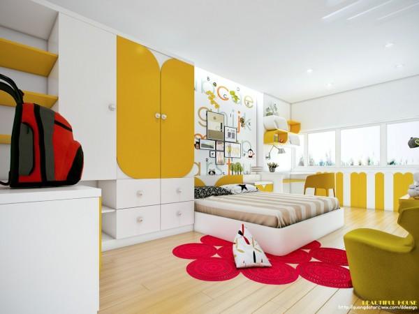 Phòng ngủ trẻ em độc đáo với màu sắc sôi động