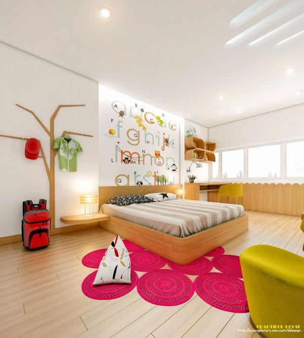 Những đồ vật trong căn phòng đều mang một ý tưởng về thiên nhiên xanh