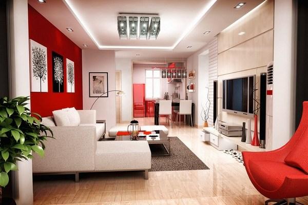 Thiết kế nội thất phòng khách đẹp với màu đỏ - HomeXinh