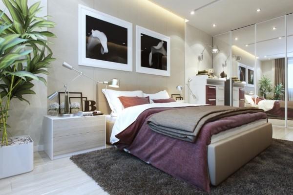 Mẫu nội thất phòng ngủ đẹp, đơn giản - Giường ngủ màu tím